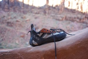 5.10 climbing shoes on a rock
